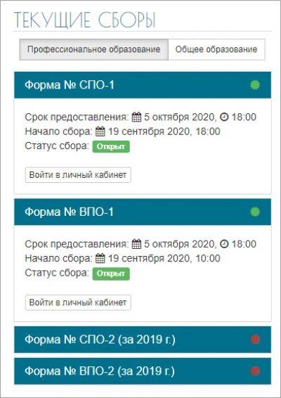 Текущие сборы на сайте ГИВЦ Минобрнауки РФ